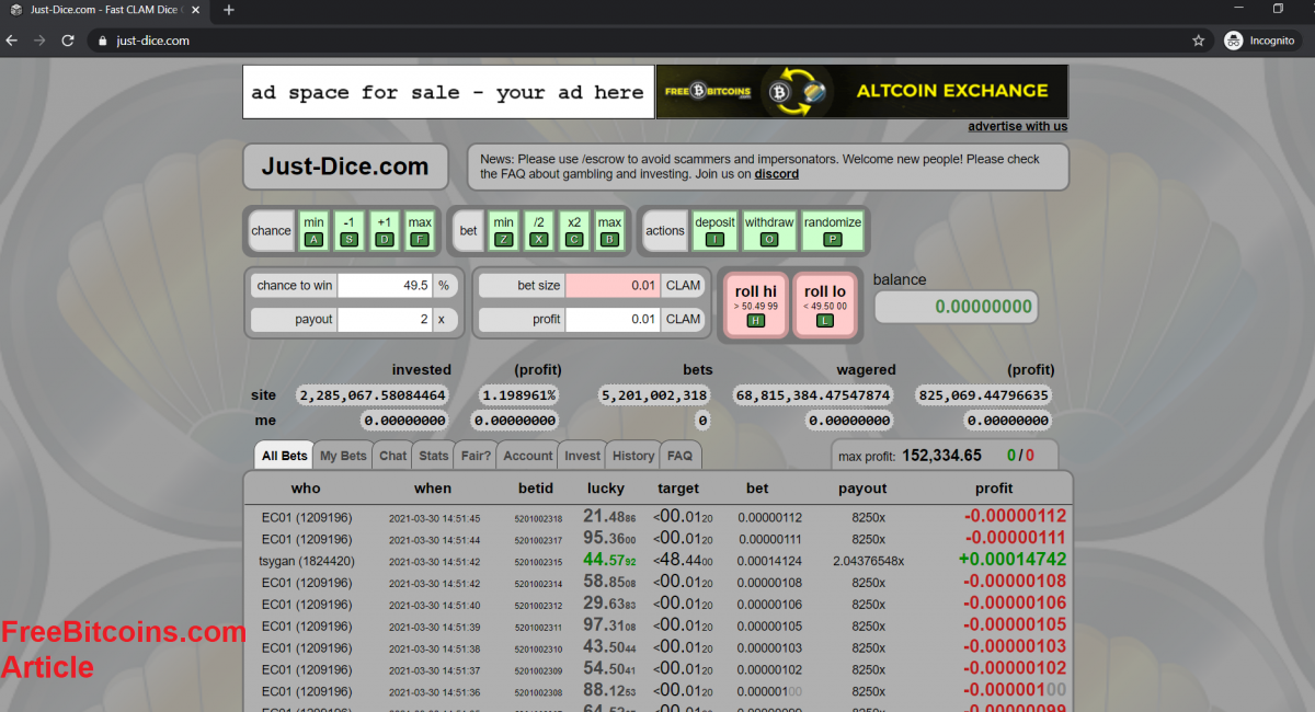 Using FreeBitcoins Faucet With Just-Dice.com
