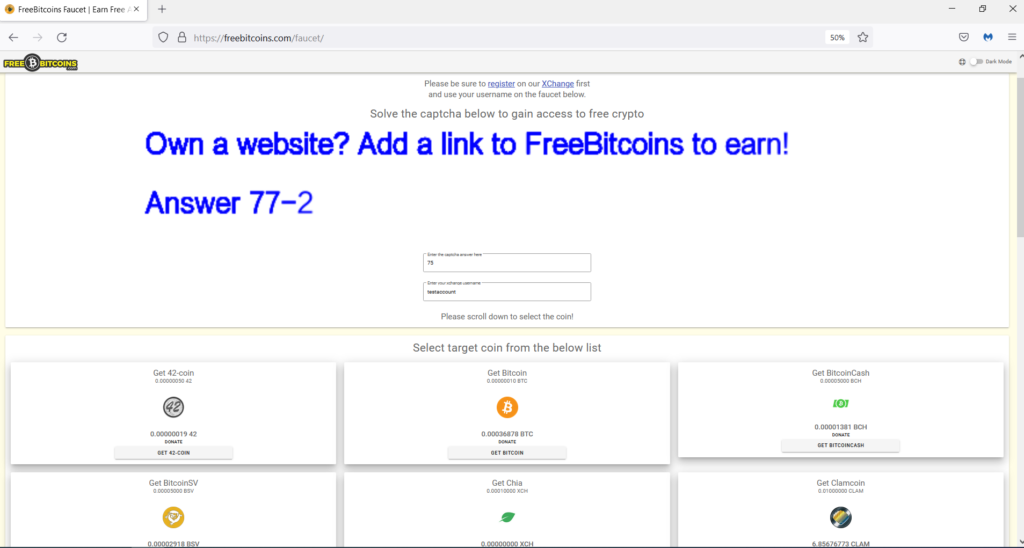 How to use FreeBitcoins.com faucet to earn cryptocurrency?