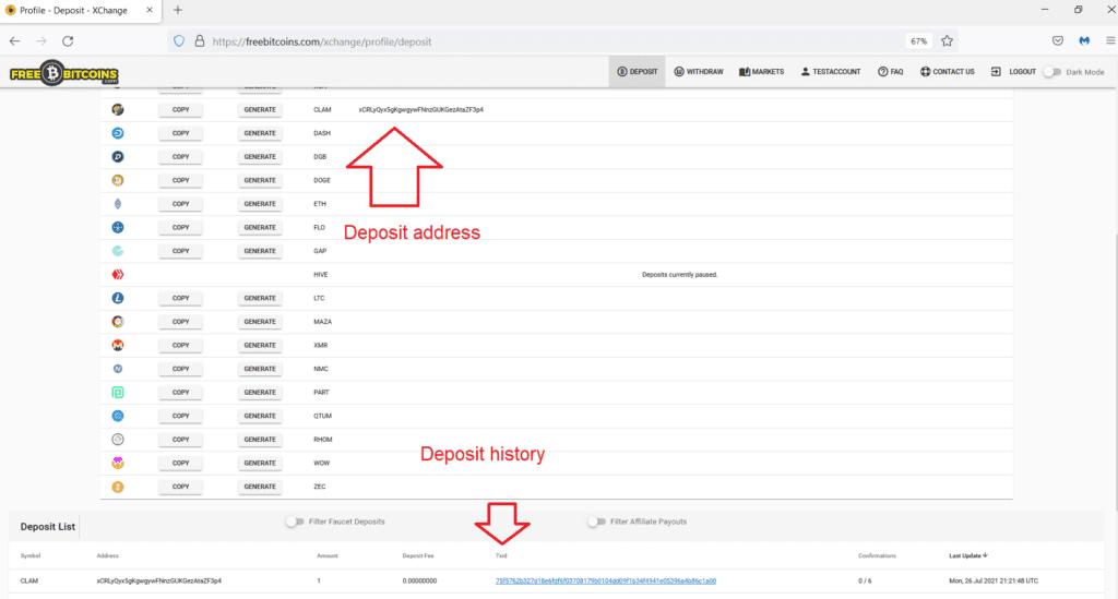 How to deposit on FreeBitcoins.com