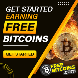 """""""Get started earning Free Bitcoins banner"""" for FreeBitcoins.com 250x250"""
